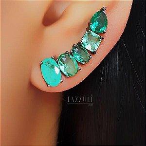 Brinco Ear Cuff Geométrico com Zircônia Turmalina e Esmeralda Banhado em Ródio Negro