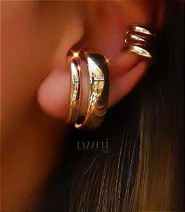 Brinco Ear Hook 2 Fileiras Lisas Banhado em Ouro18k
