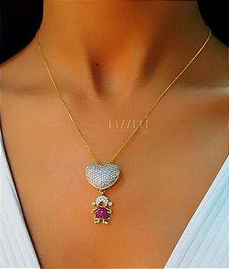 Colar 1 Filha Menina com Micro Zircônias Rosa Banhado em Ouro18k