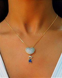 Colar 1 Filho Menino com Micro Zircônias Azul Banhado em Ouro18k