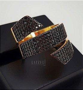 Anel 3 Fileiras Micro Zircônias Negras Banhado em Ouro18k (SKU: 00010490)