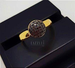 Anel Chuveirinho com Micro Zircônia Negra Banhado em Ouro18k (SKU: 00010484)