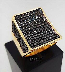 Anel Retângulo Luxury Micro Zircônias Negras Banhado em Ouro18k (SKU: 00010485)