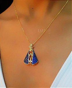 Colar Nossa Senhora 3.5cm Micro Zircônia Azul Banhado em Ouro18k