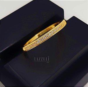 Anel Meia Aliança Micro Zircônia Cristal Banhado em Ouro18k (SKU: 00010582)
