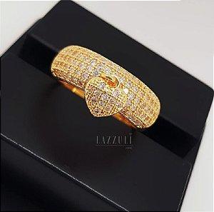 Anel Meia Aliança Grosso com Pingente Coração PP Micro Zircônias Cristal Banhado em Ouro18k