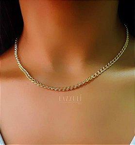 Colar 40cm Elos Lisos Banhado em Ouro18k (SKU: 00051651)
