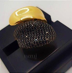 Anel Folha com Zircônia Negra e Liso Banhado em Ouro18k