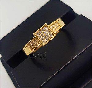 Anel Solitário New Gold Banhado em Ouro18k (SKU: 00010596)