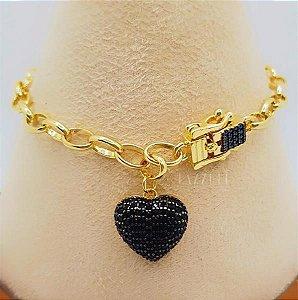 Pulseira Elos com Fecho Luxury e Pingente Coração Micro Zircônias Negra Banhado em Ouro18k