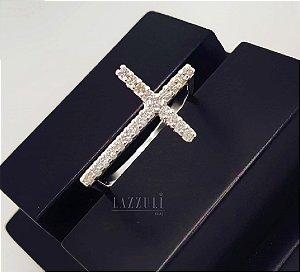 Anel Cruz de Lado com Micro Zircônias em Prata 925