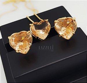 Conjunto Coração Cristal Champagne Banhado em Ouro 18k