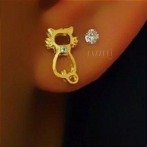 Brinco Gatinho com 1 Zircônia Cristal Banhado em Ouro18k