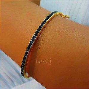 Bracelete 1 Fileira Micro Zircônia Negra Banhado em Ouro18k