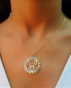Colar Mandala Filhos 1 Menina com Detalhes no Ródio Branco Banhado em Ouro18k
