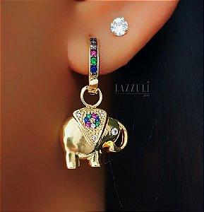 Brinco Argola Colorida com Elefante Banhado em Ouro18k