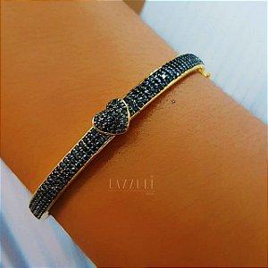 Bracelete Grosso com Coração Luxury Micro Zircônia Negra Banhado em Ouro18k