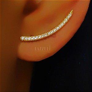 Brinco Ear Cuff Fio de ZIrcônias Banhado em Ouro18k