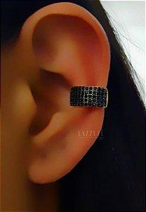 Piercing Fake 5 Fileiras Micro Zircônias Negras Banhado em Ouro18k