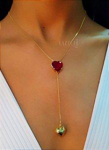 Colar Gravatinha Coração com Zircônia Rubi Banhado em Ouro18k