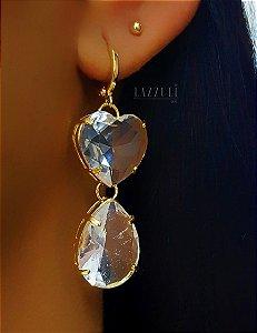 Brinco Argola com Coração e Gota Cristal Banhado em Ouro18k