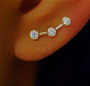 Brinco Ear Cuff 3 Pontos de Luz Zircônia Cristal Banhado em Ouro18k