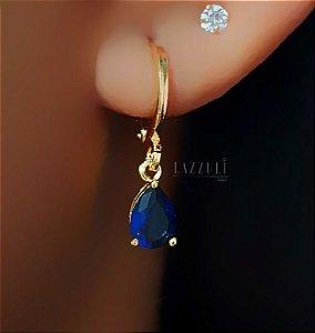 Brinco Mini Argola com Gota Azul Bic Banhado em Ouro18k