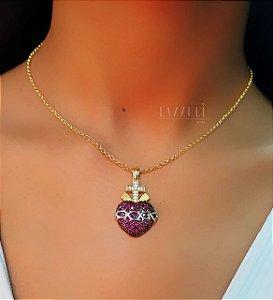 Colar 40cm Elo Português Pingente Sagrado Coração com Micro Zircônias com Detalhes no Ródio Branco Banhado em Ouro18k