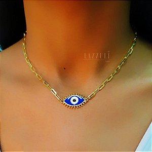 Colar 40cm Olho Grego com Resina Azul Escuro Banhado em Ouro18k