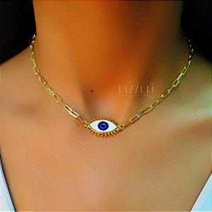Colar 40cm Olho Grego com Resina Branca Banhado em Ouro18k