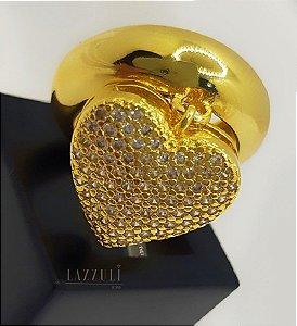 Anel Robusto com Pingente Coração Banhado em Ouro18k