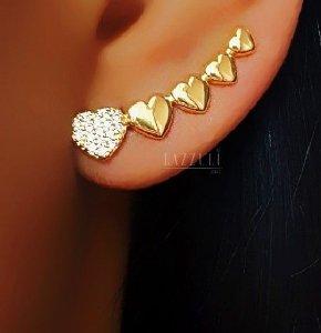 Brinco Ear Cuff 5 Corações Lisos e Cravejado Banhado em Ouro 18k