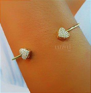 Bracelete 2 Mini Corações Cravejados Banhado em Ouro18k