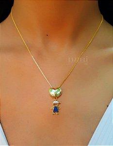 Colar Filhos Coração Liso com 1 Menino Zircônia Azul Banhado em Ouro18k