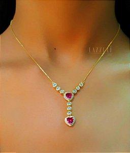 Colar Gravatinha Luxury Coração Rubi Banhado em Ouro18k