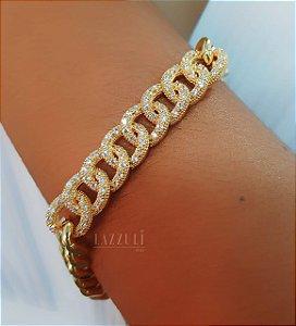 Pulseira Elos Robustos Luxury com Micro Zircônias Banhado em Ouro18k (SKU: 00090371)