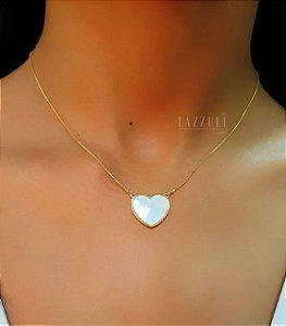 Colar Coração com Madrepérola Banhado em Ouro 18k