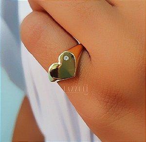 Anel Dedinho Coração com Micro Zircônia  Banhado em Ouro18k