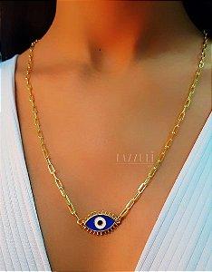 Colar Longo Olho Grego com Resina Azul Escuro Banhado em Ouro18k