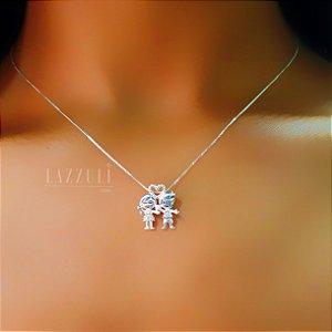 Colar Filhos Casal com Micro Zircônias em Prata