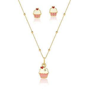 Conjunto Infantil Cupcakes Banhado em Ouro18k