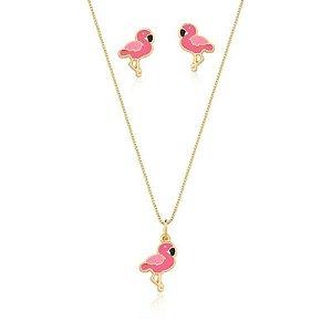 Conjunto Infantil Flamingo Banhado em Ouro18k