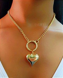 Colar Elos com Coração Liso Banhado em Ouro18k (SKU: 00051980)