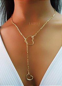 Colar Gravatinha 2 Corações com Detalhe em Micro Zircônia Banhado em Ouro18k