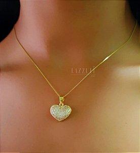 Colar Coração Coração 1.8/ 2.0 cm Micro Zircônias Banhado em Ouro18k