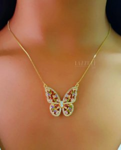 Colar Borboleta Luxury Zircônia Colorida Banhado em Ouro18k (SKU: 00052007)