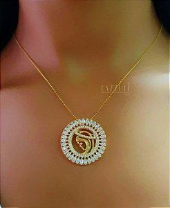 Colar Mandala Nossa Senhora com Micro Zircônia e Zircônia Navete Banhado em Ouro18k