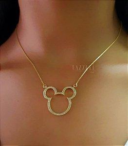 Colar Mickey com Micro Zircônias Cristal Banhado em Ouro18k