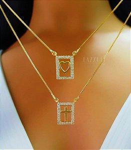 Colar Escapulário 1 Cruz e 1 Coração com Micro Zircônias Banhado em Ouro18k