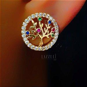 Brinco Redondo Árvore da Vida com Micro Zircônia Colorida e Cristal Banhado em Ouro18k